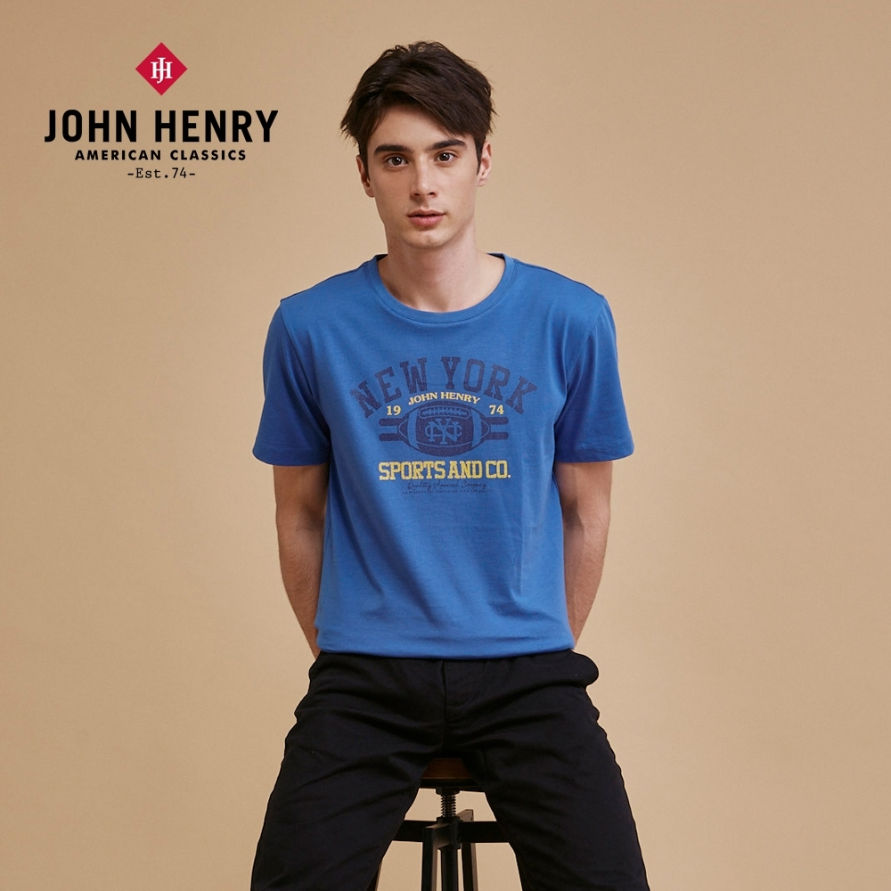 【JOHN HENRY】純棉經典橄欖球運動風短袖T恤-二色選