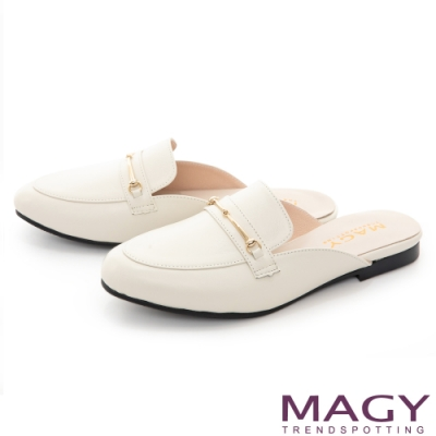 MAGY 精選馬銜扣牛皮平底 女 穆勒鞋 白色