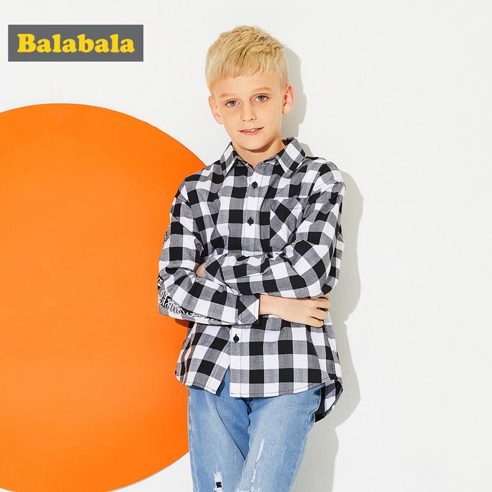 Balabala巴拉巴拉-經典純棉格紋長袖襯衫-男(2色)