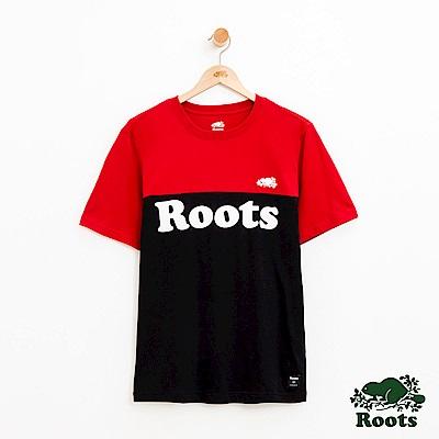 男裝Roots 撞色短袖T恤-紅