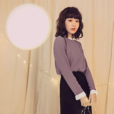 純色拼接蕾絲假兩件式長袖上衣-OB大尺碼
