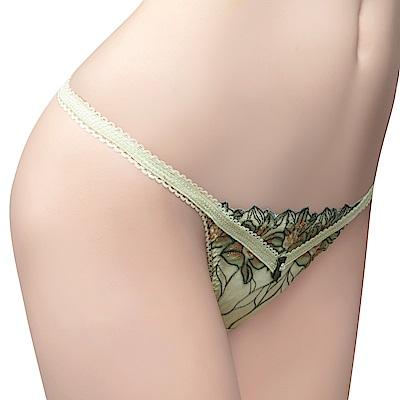 思薇爾 花影饗宴系列M-XL蕾絲刺繡低腰丁字褲(優雅綠)
