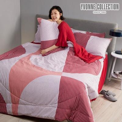 YVONNE 幾何大圓雙人四季被_膠原美膚(6x7呎)-玫瑰粉