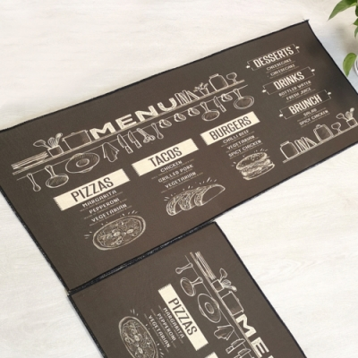 BUNNY LIFE 防滑吸水仿麻廚房地墊(大45x120cm)- 西式菜單(黑)