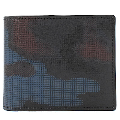 COACH 亮色迷彩PVC附卡片夾對開短夾(藍)