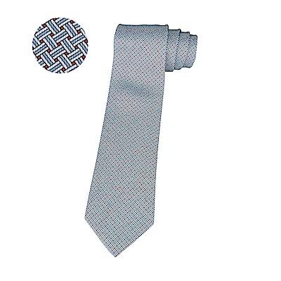 HERMES愛馬仕7 H YOYO經典緹花LOGO交叉織紋設計蠶絲領帶(紅x淺藍)