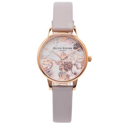 OLIVIA BURTON 百花與大理石紋錶帶手錶-花朵面/30mm
