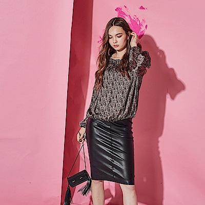 ICHE 衣哲 時尚摩登動物豹紋印花空氣感造型上衣-咖