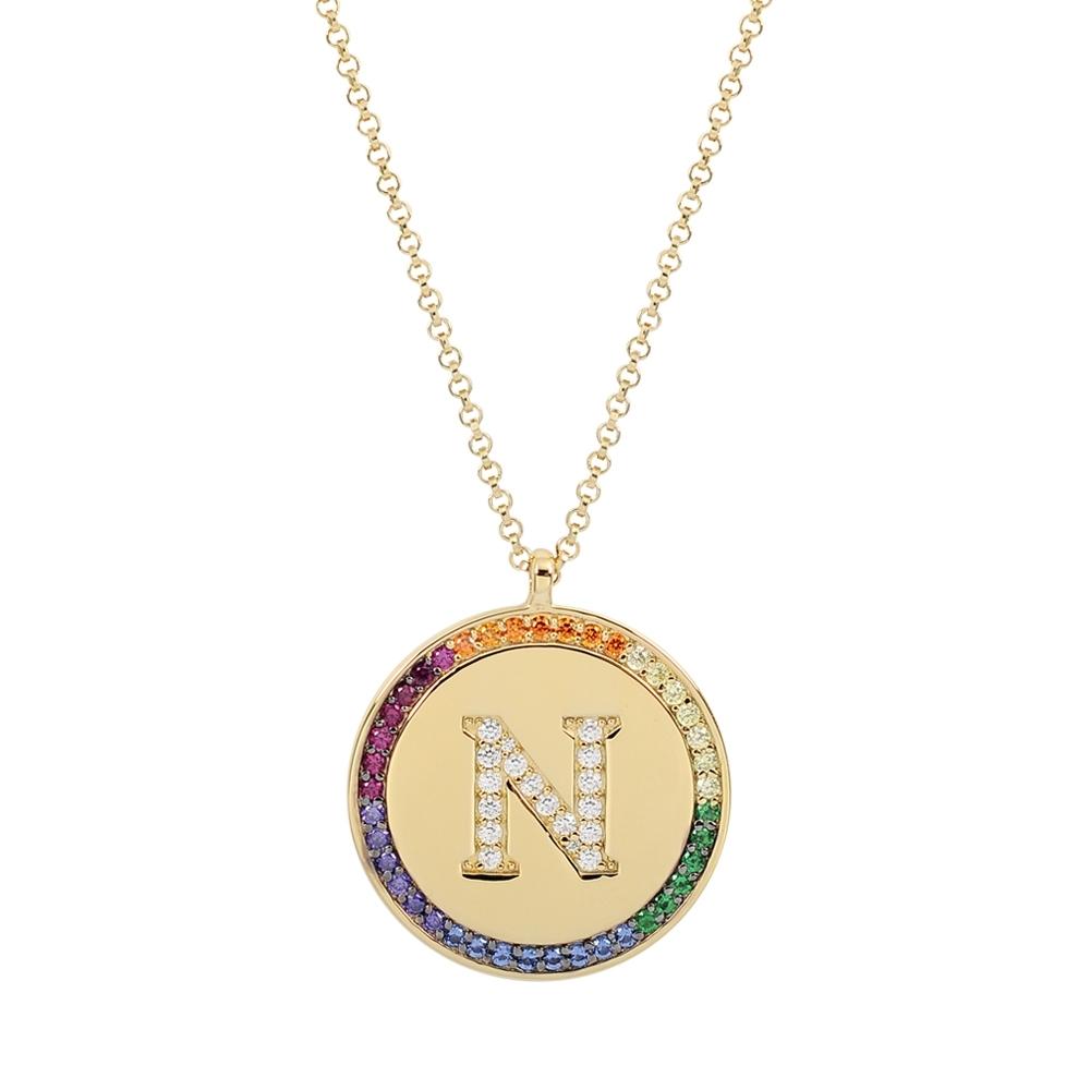 apm MONACO法國精品珠寶 閃耀彩虹晶鑽金色字母N圓牌可調整長項鍊