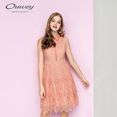 OUWEY歐薇 典雅復古蕾絲花卉長洋裝(桔)