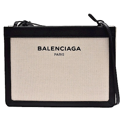 BALENCIAGA 經典NAVY系列帆布X牛皮飾邊手拿/斜背包(中-黑)