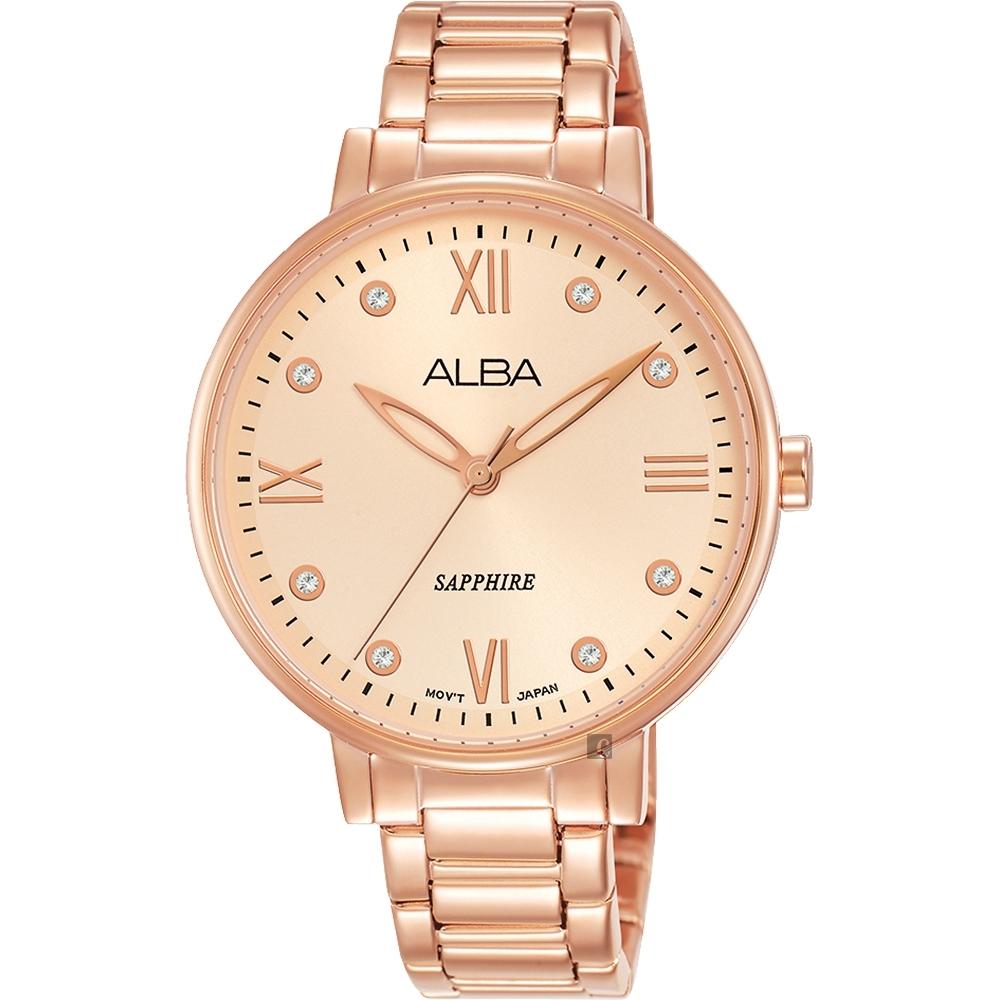ALBA 雅柏 甜美風格時尚女錶(AH7T38X)-玫塊金/36mm