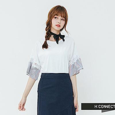 H:CONNECT 韓國品牌 女裝-繡花接袖造型上衣-白