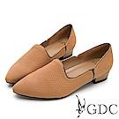 GDC-真皮時尚金邊素雅尖頭低跟鞋-棕色