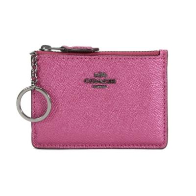 COACH 防刮皮革拉鍊證件零錢鑰匙包(金屬紫紅)