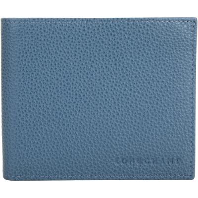 [法國精品男夾三千有找] LONGCHAMP Le Foulonne 荔紋牛皮八卡對折短夾-3色可選