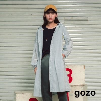 gozo-連帽拼接手繪袖子長洋裝-(淺藍)