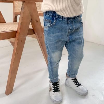 小衣衫童裝 男女童破口袋修身彈力毛邊牛仔褲1080962