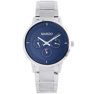 MANGO 簡約質感三眼時尚手錶-藍X銀/36mm