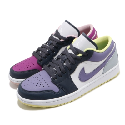 Nike 休閒鞋 Air Jordan 1 Low 男女鞋 喬丹一代 鴛鴦 皮革 簡約 情侶穿搭 白 紫 DJ4342400
