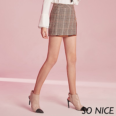 SO NICE個性皮革拼接格紋短裙 @ Y!購物