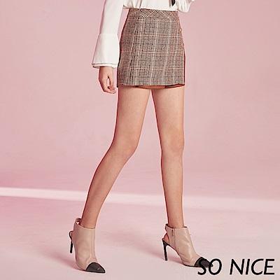 SO NICE個性皮革拼接格紋短裙