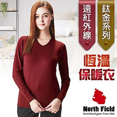 North Field 女 鈦金 遠紅外線+膠原蛋白V領控溫內刷毛保暖衛生衣_赤紅