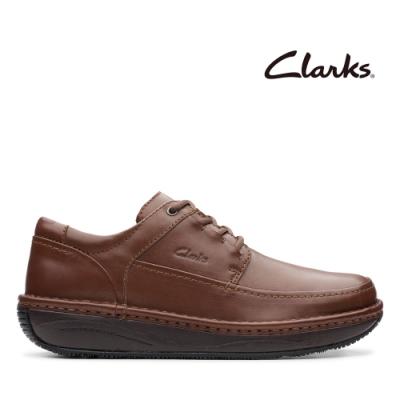 Clarks UN 厚底全真皮縫線設計休閒鞋 棕色