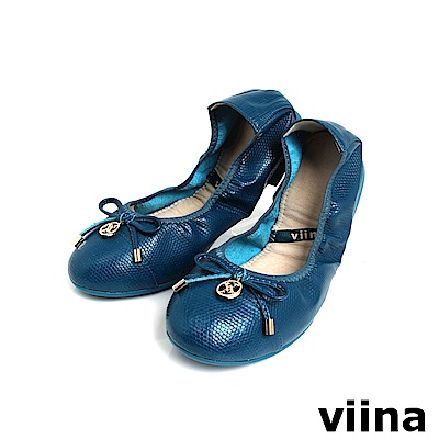 viina 質感壓紋小蝴蝶結摺疊鞋MIT-藏青色