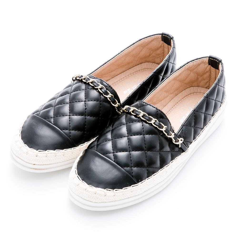 River&Moon懶人鞋-小香菱格金鍊條麻編豆豆鞋-黑 @ Y!購物