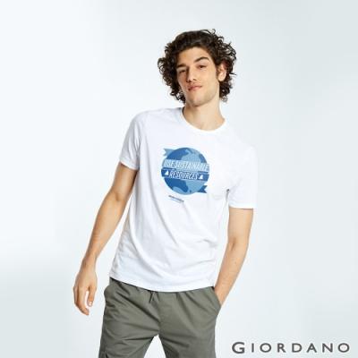 GIORDANO 男裝DEAR WORLD系列印花T恤-11 標誌白