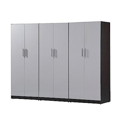 文創集 杜亞環保8.2尺塑鋼衣櫃組合(五色)-244.5x52.5x200cm-免組