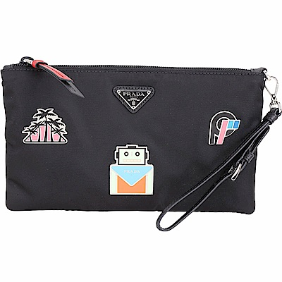 PRADA Smalto 機器人徽章扁型尼龍手腕包(黑色)