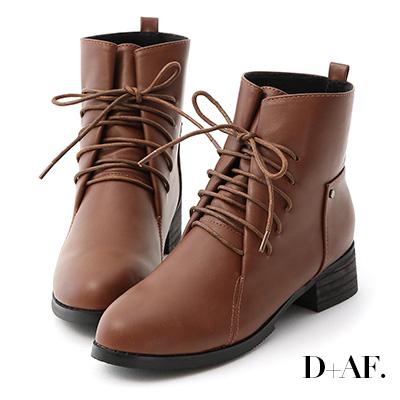 D+AF 街頭個性.綁帶設計低跟軍風短靴*棕