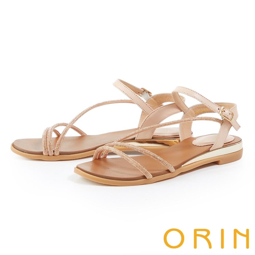 ORIN 水鑽斜邊飾條牛皮平底 女 涼鞋 粉色