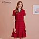 OUWEY歐薇 亮麗縷空蕾絲洋裝(紅) product thumbnail 1
