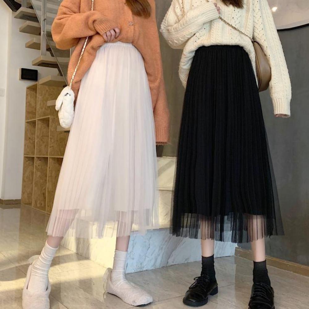La Belleza素色鬆緊腰假兩件百摺紗裙拼接網紗中長裙