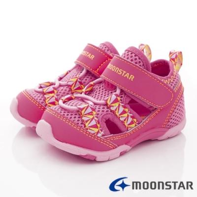 日本月星頂級童鞋 耐磨透氣織帶款 ON764粉(寶寶段)