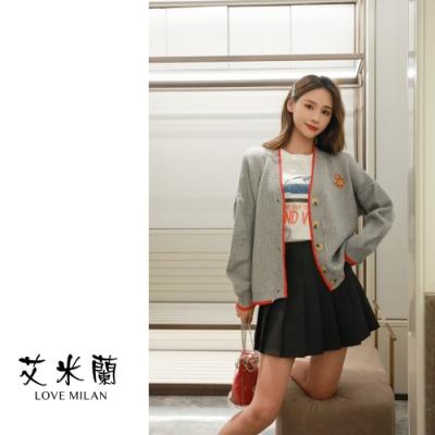 艾米蘭-簡約排扣配色針織外套-灰-F