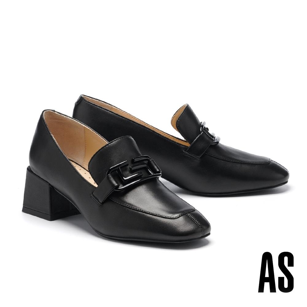 低跟鞋 AS 文藝復古風烤漆方釦羊皮方頭樂福高跟鞋-黑