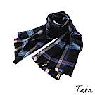 鬚邊藍黑撞色格紋圍巾 TATA