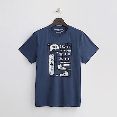 Hang Ten - 男裝 - 有機棉 運動插圖T恤-藍色