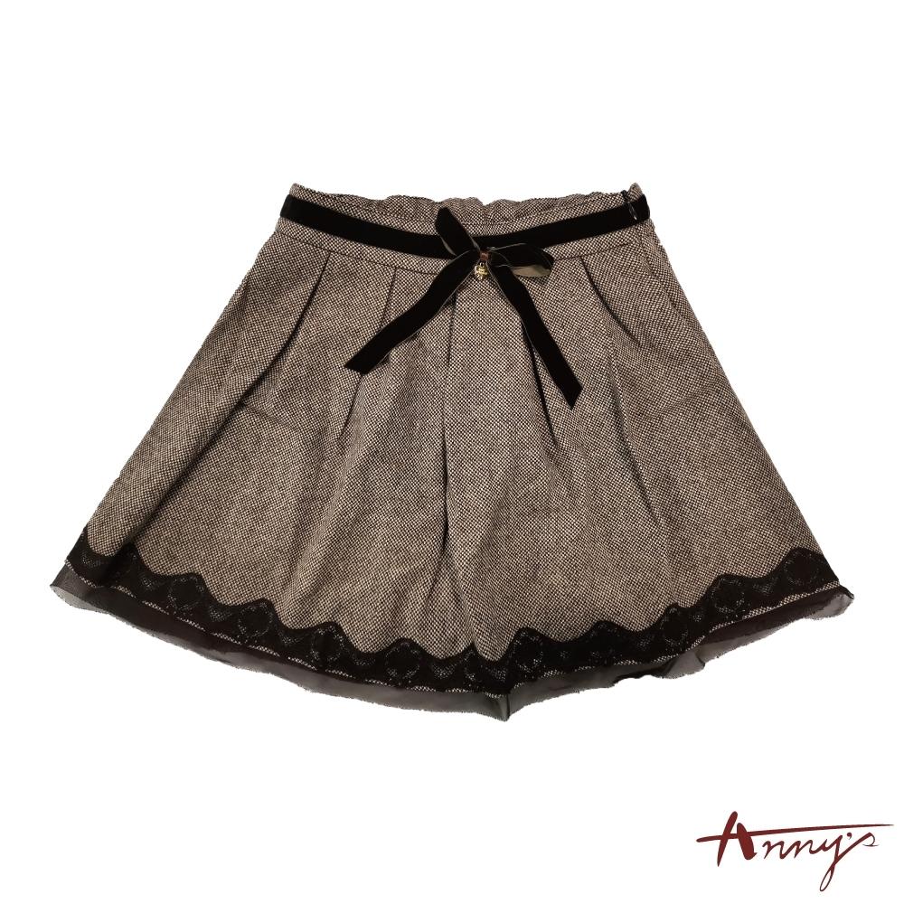 Annys華麗壓褶蕾絲裙襬短裙*3248咖啡