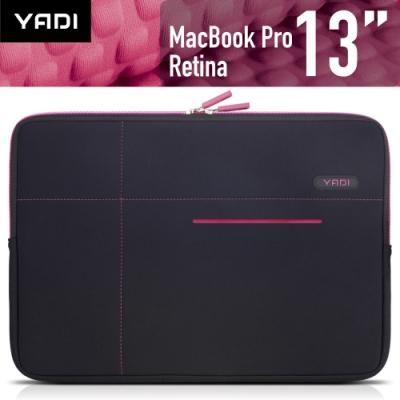 YADI MacBook Pro 13吋專用內袋_抗衝擊_防震機能_粉蝶紅