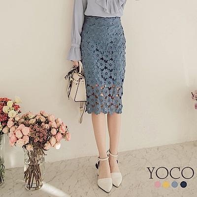 東京著衣-yoco 浪漫甜意滿版緹花蕾絲多色包臀裙-S.M.L(共四色)
