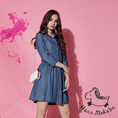 Hana+花木馬 無印簡約系100%棉製輕牛仔打摺造型襯衫洋裝-藍(共2色)