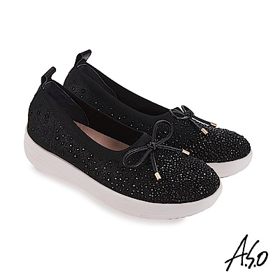 A.S.O 輕量抗震 鞋面水鑽設計休閒鞋 黑