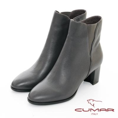 【CUMAR】中性之美 - 側邊鬆緊花邊切爾西短靴-灰