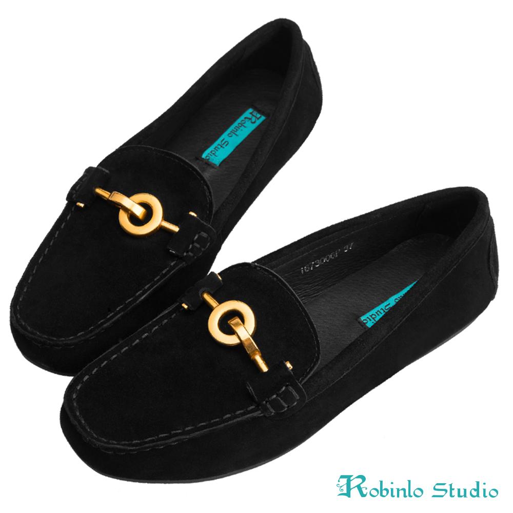 Robinlo 低調感幾何金屬圓環飾扣莫卡辛鞋 黑