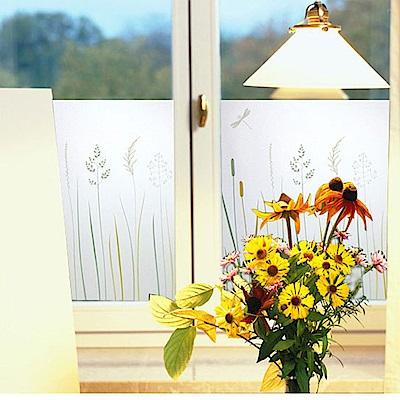 半島良品 無膠玻璃靜電貼-蜻蜓綠草 45x200cm